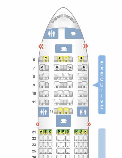 ガルーダインドネシア航空 B777-300 機内座席配置図