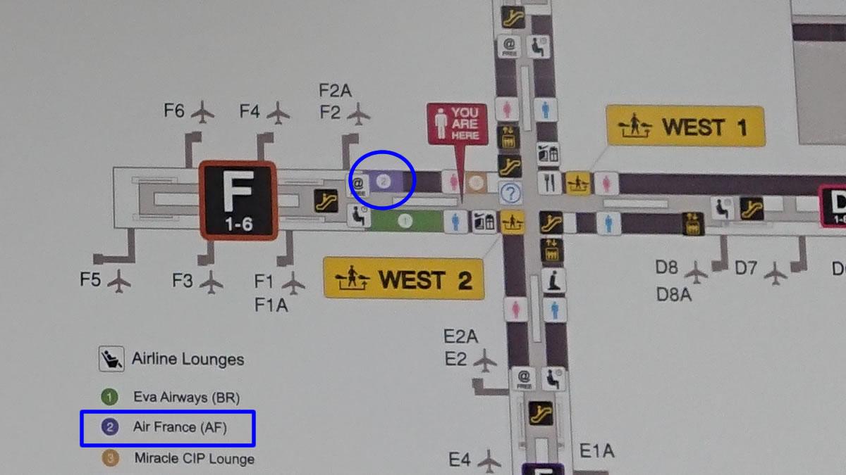 バンコク スワンナプーム国際空港 エールフランスラウンジ MAP