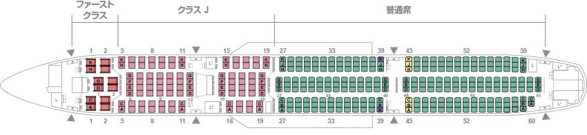 JAL A350-900型機 国内線 座席配列図