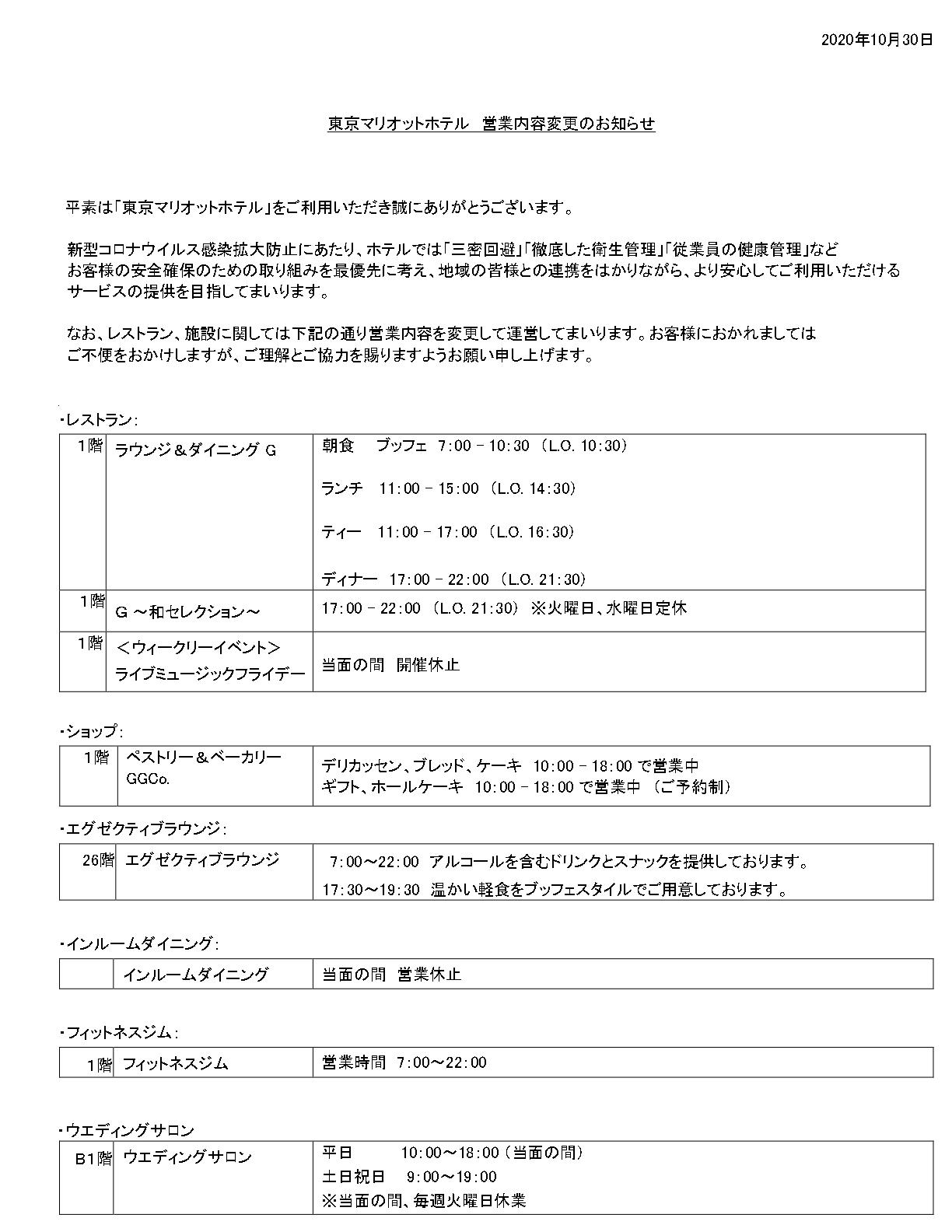 東京マリオット オープン状況 20年12月