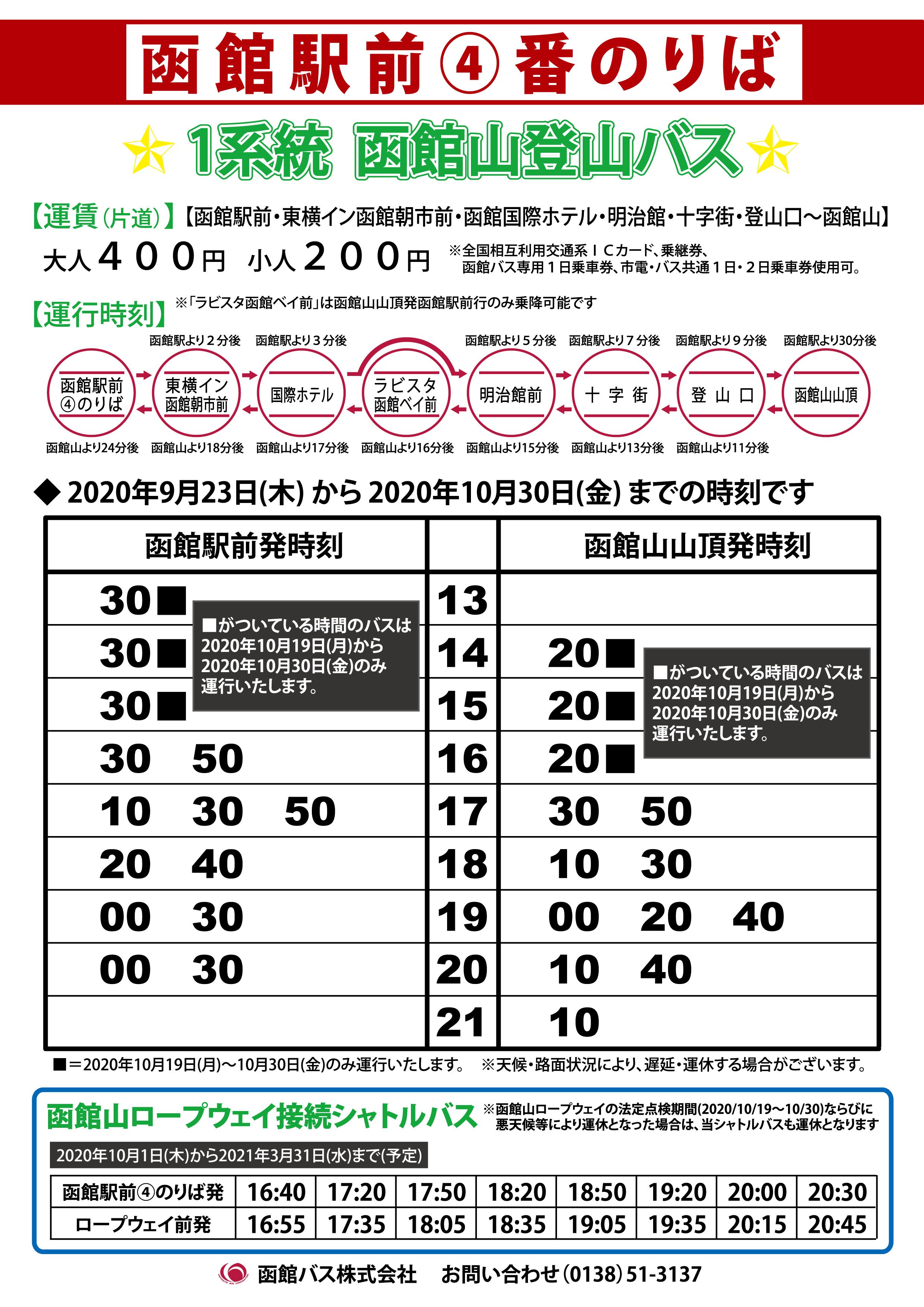 函館バス 時刻表