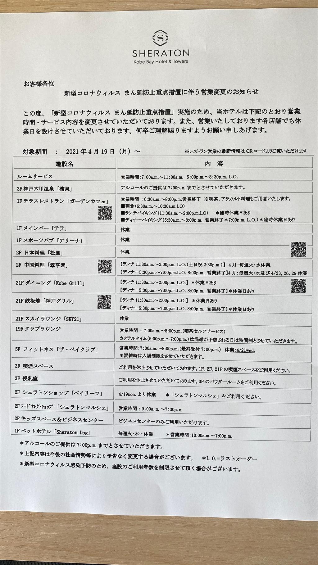 神戸ベイシェラトン ホテル&タワーズ 滞在記 21年4月 withコロナ クラブラウンジ編